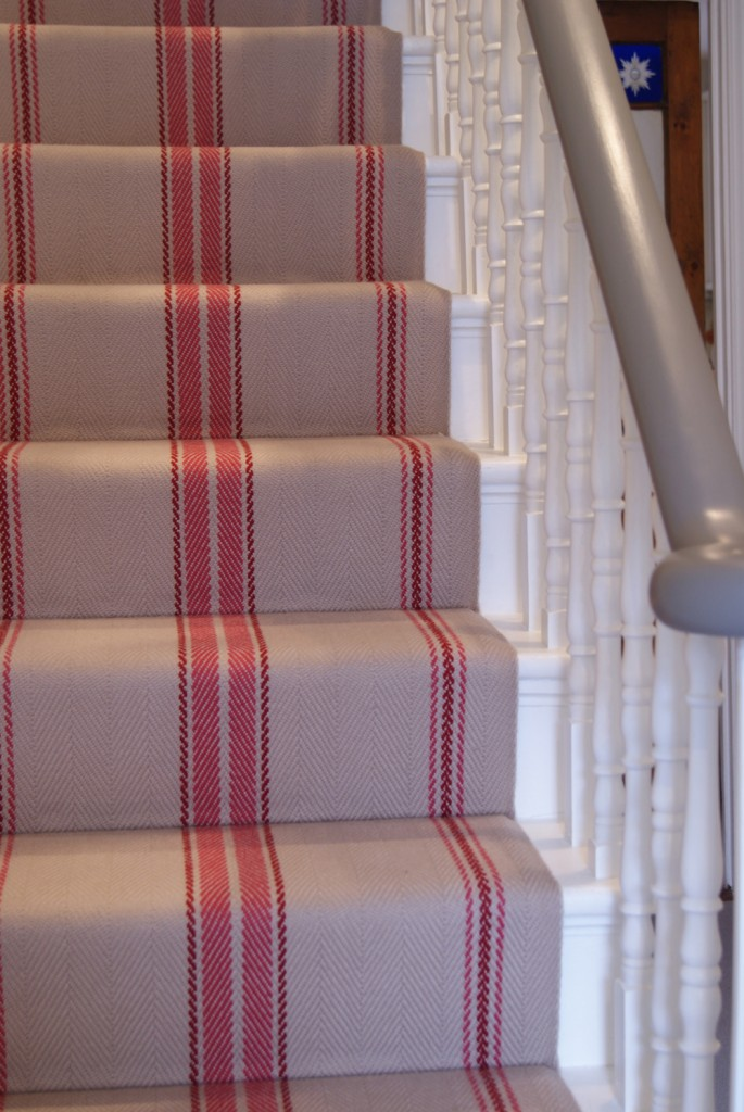 Pink and taupe striped Roger Oates stair runner