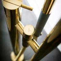 Polished brass Vola bath filler
