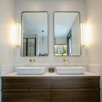 Bespoke American black walnut bathroom vanity