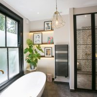 Luxury black and brass ensuite master bathroom