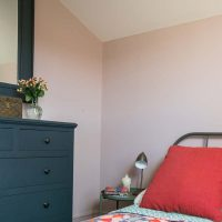 Ealing Bedroom in Little Green Peach Blossom with chest of drawers in Farrow & Ball Hague Blue