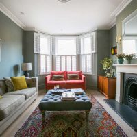 Farrow and Ball Pigeon Sitting Room Ealing with pink velvet sofa and mid century furniture