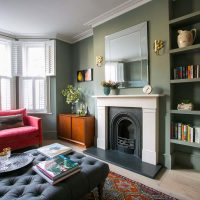 Farrow and Ball Pigeon Sitting Room Ealing with grey wool footstool and kilim rug