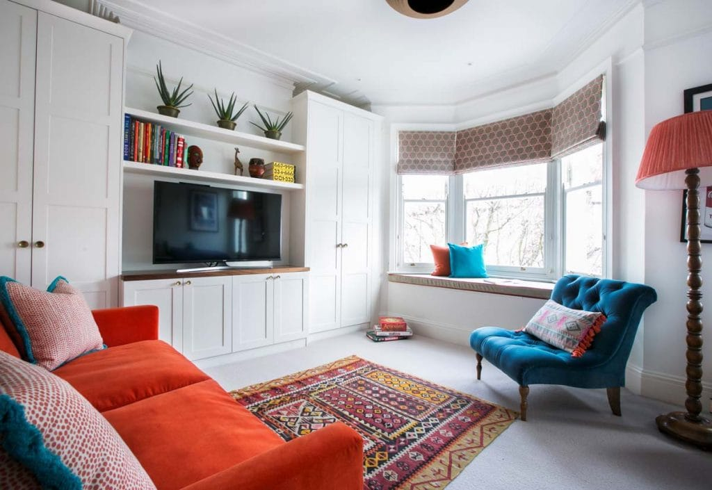 Orange and turquoise playroom scheme