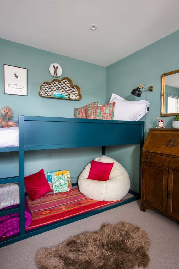 Girls bedroom Ealing in Farrow & Ball Oval Room Blue with Farrow & Ball Hague Blue painted bunk bed