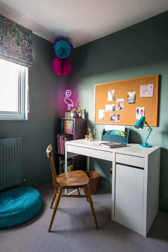 Ealing Girls bedroom with Liberty print blind and Farrow & Ball Oval Room Blue walls