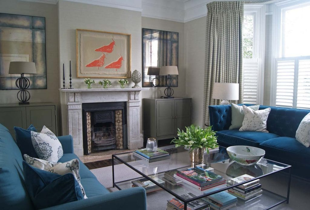 Formal Sitting Room Dulwich with green and blue colour scheme and Julian Chichester print